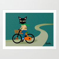 cycling Art Prints featuring Cycling by BATKEI