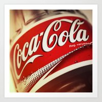 coca cola Art Prints featuring Coca-Cola by BeccAi