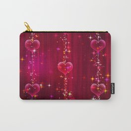 Elegant pink lilac red white sparkling romantic hearts Carry-All Pouch