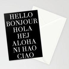 HELLO BONJOUR HOLA HEJ ALOHA NI HAO CIAO Stationery Cards