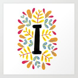 Letter 'I' Initial/Monogram With Bright Leafy Border Art Print