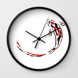 Black and Red Koi Fish Wall Clock
