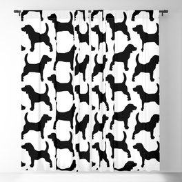 Black Beagle Silhouettes Pattern Blackout Curtain