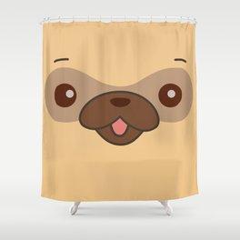 Kawaii Cute Pug Shower Curtain
