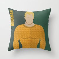 aquaman Throw Pillows featuring Aquaman by Loud & Quiet