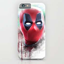 dead pool abstract watercolor portrait painting | Original Fan Art iPhone Case
