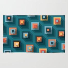 Teal Cubes Pattern Rug