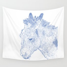 donkey drawing, blue Wall Tapestry
