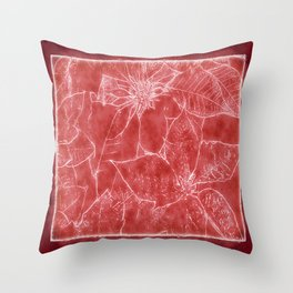 Mixed Color Poinsettias 2 Outlined Red Throw Pillow