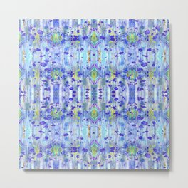 Royal Blue Ikat Metal Print