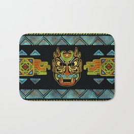 Tribal Ethnic  Mask  with Colored Glass and Gold decor Bath Mat