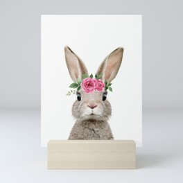 Baby Rabbit with Flower Crown Mini Art Print