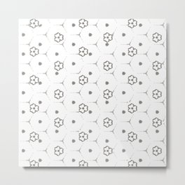 Minimalist Black and White mini Flower Pattern Metal Print