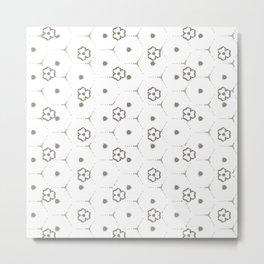 Minimalist Black and White mini Flower Pattern Metal Print