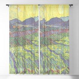 Van Gogh Enclosed Field with Rising Sun Sheer Curtain