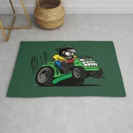 Cartoon racing riding lawnmower tractor popping a wheelie Rug