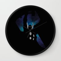 mandie manzano Wall Clocks featuring SuperHeroes Shadows : Thor by Lily's Factory
