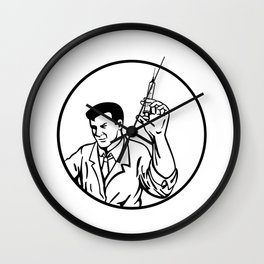 Doctor Nurse Medical Worker or Scientist Wearing Lab Coat Holding Up Syringe with Vaccine Retro Blac Wall Clock
