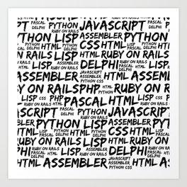 Programming Languages (Java, Pascal) - Black Art Print
