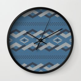 Knitty (Knitted Blue Zigzag Ornament) Wall Clock