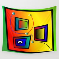frames Wall Tapestries featuring Mysterious frames I by Horacio Moschini
