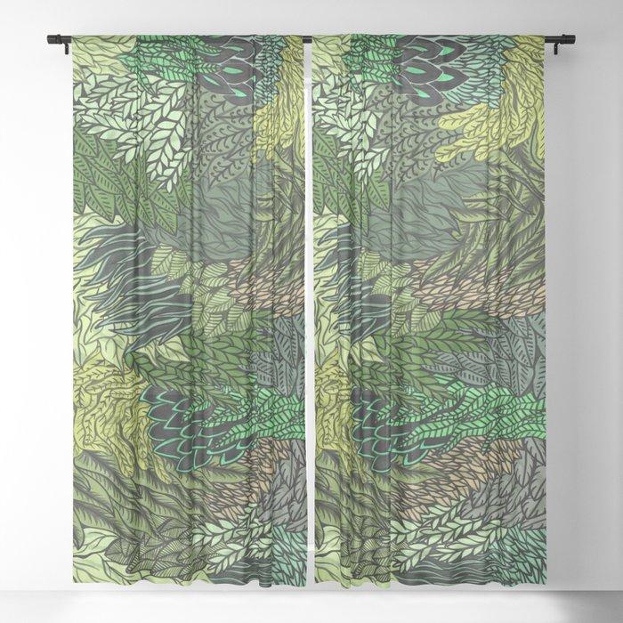 Leaf Cluster Sheer Curtain
