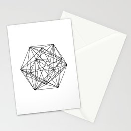 Geometric Crystal - Black and white geometric abstract design Stationery Cards