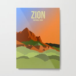 Zion National Park - Travel Poster -  Minimalist Art Print Metal Print