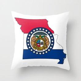 Missouri Map with Missouri Flag Throw Pillow