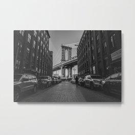 New York City Bridge (Black and White) Metal Print
