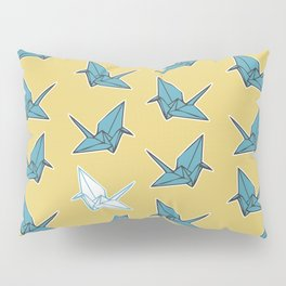 PAPER CRANES BABY BLUE AND YELLOW Pillow Sham