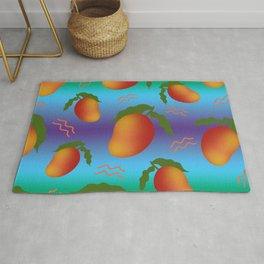 Tropical exotic sweet ripe summer mango fruits modern artistic bright sunny colorful blue green purple pattern design. Rug