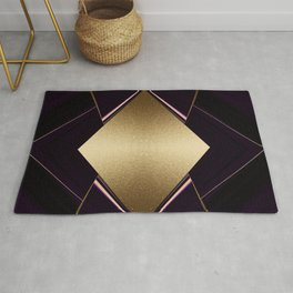 Rich Gold and Purple Accent Diamond Pattern Rug