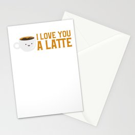 Cute & Funny I Love You A Latte Coffee Pun Stationery Cards