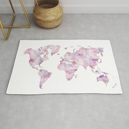 Lavander and pink watercolor world map Rug