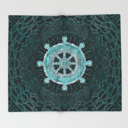 Dharma Wheel - Dharmachakra Silver and turquoise Throw Blanket