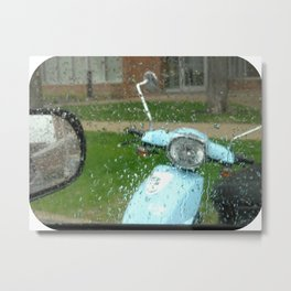 rainy day scooter Metal Print
