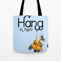 pixar Tote Bags featuring Pixar/Disney Wall-e Hang in There by Teacuppiranha