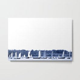 Dutch sailing boats in Delft Blue colors Metal Print