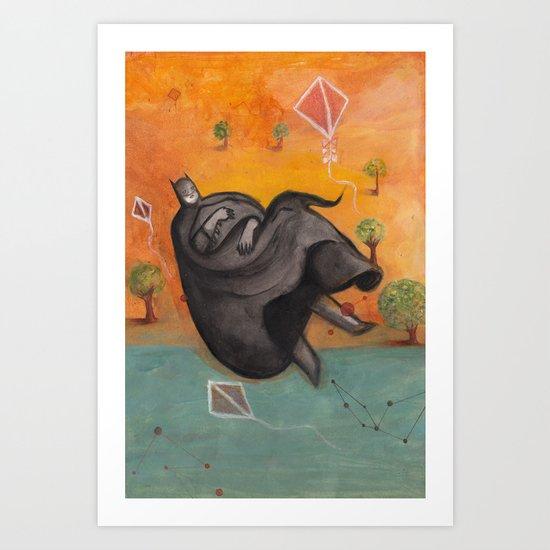 Caped Crusader Dreams of Kites Art Print
