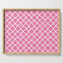 Candy pink and white curved grid pattern Serving Tray