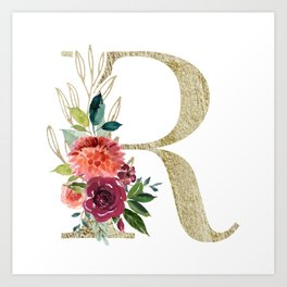 Letter R Monogram Gold and Watercolor Flowers Art Print