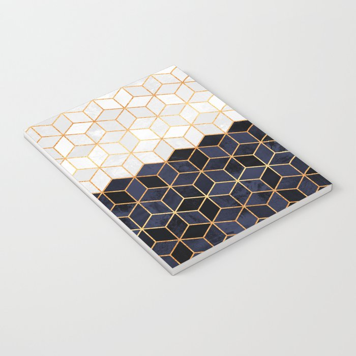 White & Navy Cubes Notebook
