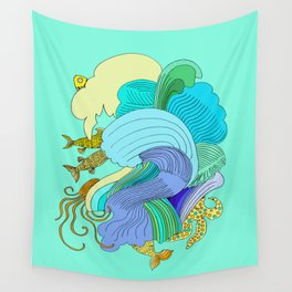 Waves & Fishes Wall Tapestry