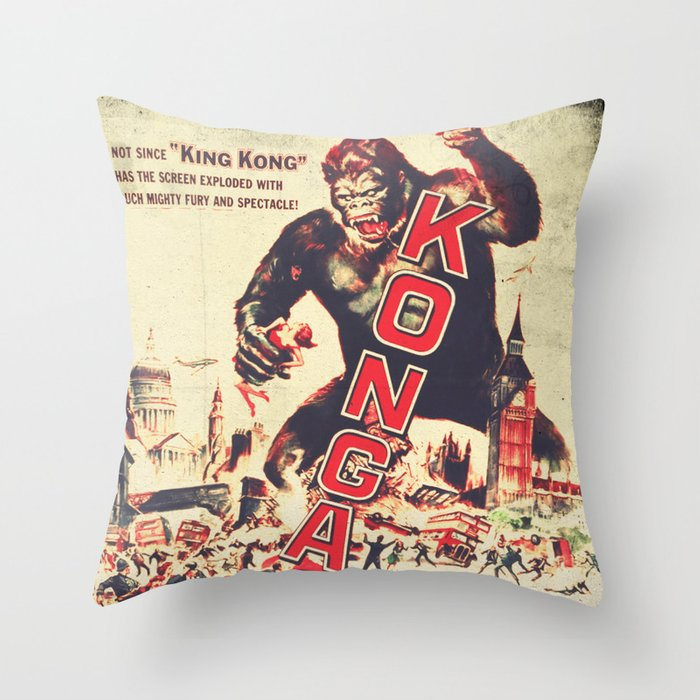 Konga - Retro Movie Throw Pillow by fernandovieira Society6