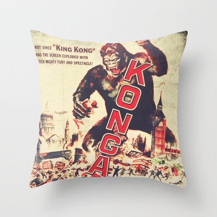 Throw Pillows Orange : Konga - Retro Movie Throw Pillow by fernandovieira Society6
