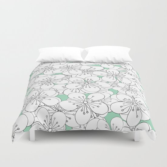 Cherry Blossom With Mint Blocks - In Memory of Mackenzie Duvet Cover