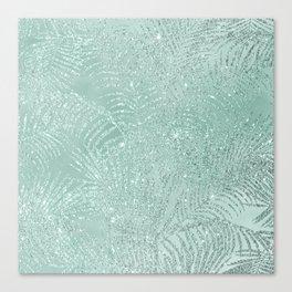 521b7d8bf956 Tropical mint green watercolor silver glitter palm tree Canvas Print