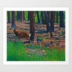 Deer Under Construction Art Print