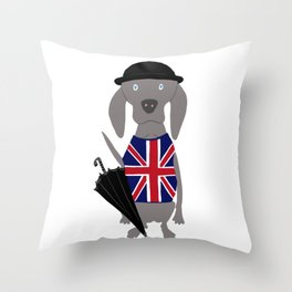 Brit Weim British Grey Ghost Weimaraner Dog Hand-painted Pet Drawing Throw Pillow